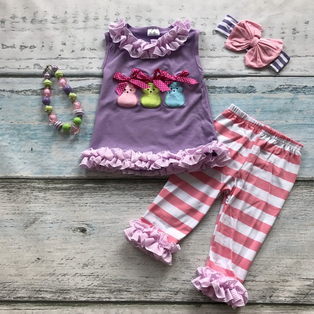 baby girls bunny easter clothing children purple top with strip capri pant outfits girls easter party sets with accessories
