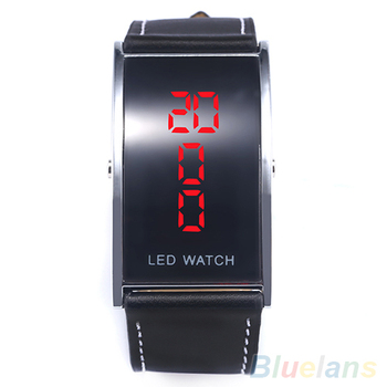 2018 Popular New Brand Luxury Men's Women's LED Digital Date Rectangle Dial Faux Leather Strap Wrist Watch 1