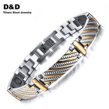 Vnox Stainless Steel Bracelet Bangle Health Care Magnets Men's Jewelry Gold Plated Exquisitive Carving Bracelet SBRM-079