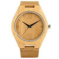 Simple Natural Bamboo Watch For Male Female Quartz Hand Made Wooden Wristwatch Genuine Leather Watchband Strap