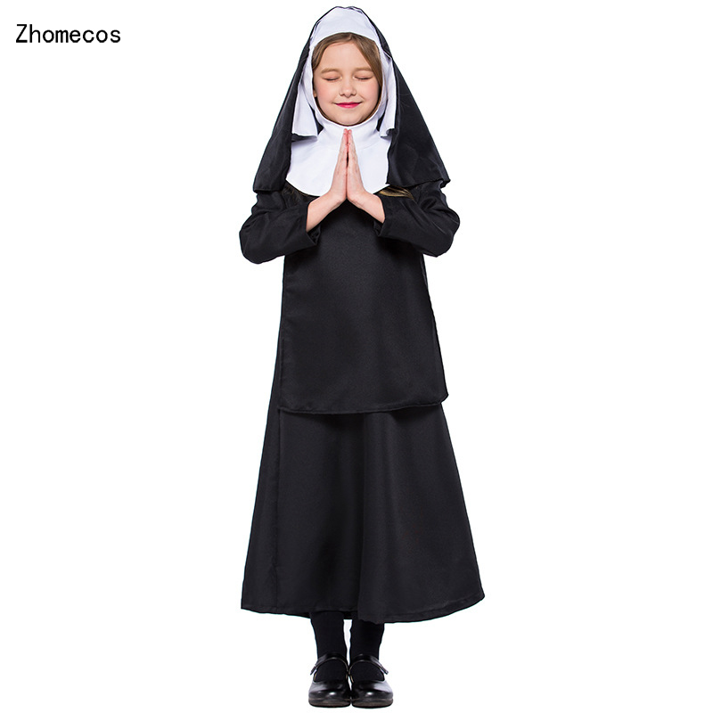 Girls Black The Nun Dress With Hooded Set Costumes Cosplay For Kids Halloween Disfraz Monja Nina Party Cosplay