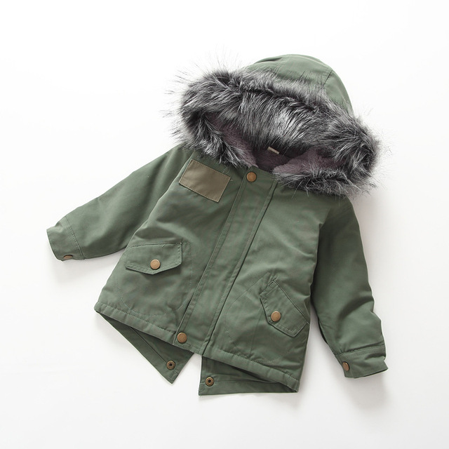 Casual New Baby Boys Winter Jacket Coat Warm Fur Hooded Kids Outerwear Casual Thicken Fleece Zipper Boy Parka Children's Clothes