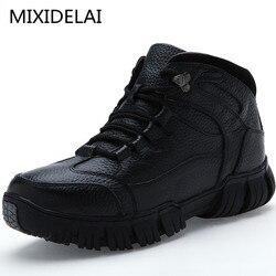MIXIDELAI супер теплый Мужские зимние ботинки из натуральной кожи Мужская зимняя обувь Для мужчин военные ботинки на меху для Мужская обувь муж...