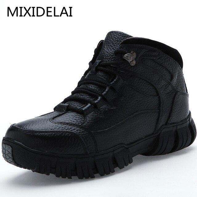 MIXIDELAI Süper Sıcak Kış Erkek Hakiki Deri Çizmeler Çizmeler Erkekler Kış Ayakkabı Erkekler Için Askeri Kürk Çizmeler erkek ayakkabısı Zapatos Hombre