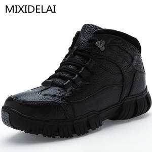 9bd947fc619 MIXIDELAI Genuine Leather Winter Boots For Men Shoes