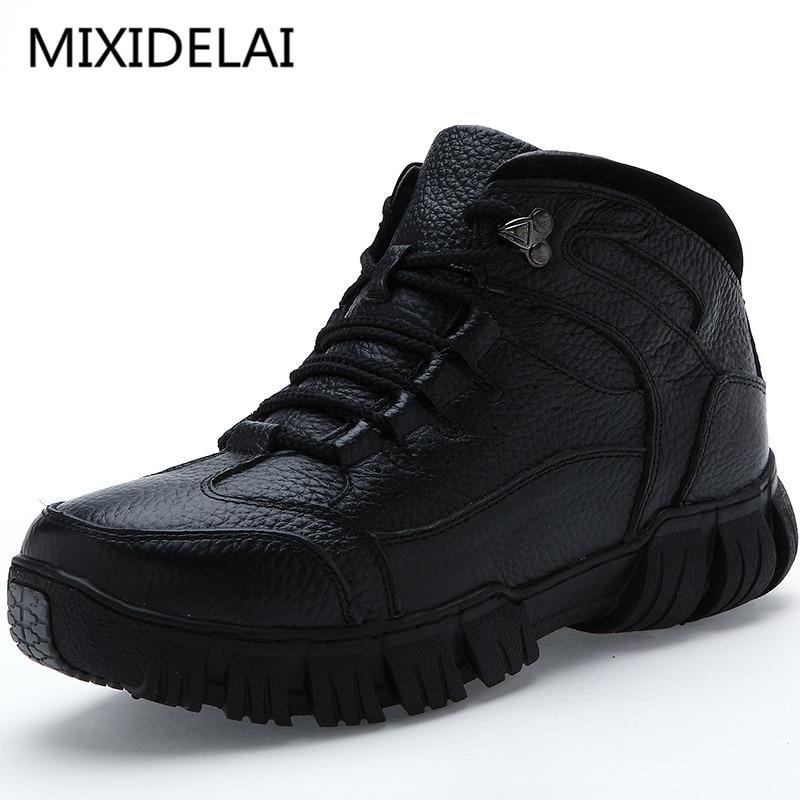 MIXIDELAI Super Warme Winter Männer Stiefel Aus Echtem Leder Stiefel Männer Winter Schuhe Männer Militär Pelz Stiefel Für Männer Schuhe Zapatos hombre