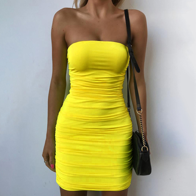 d55d9d1786d ZHYMIHRET Sexy Bright Color Tube Dress Women Ruched Skinny Mini Bandage  Dress Sexy Strapless Vestidos Mujer