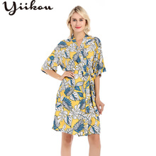 yiikou Female summer and autumn thin sexy pajamas robe fashion cotton lace cardigan printed home clothes