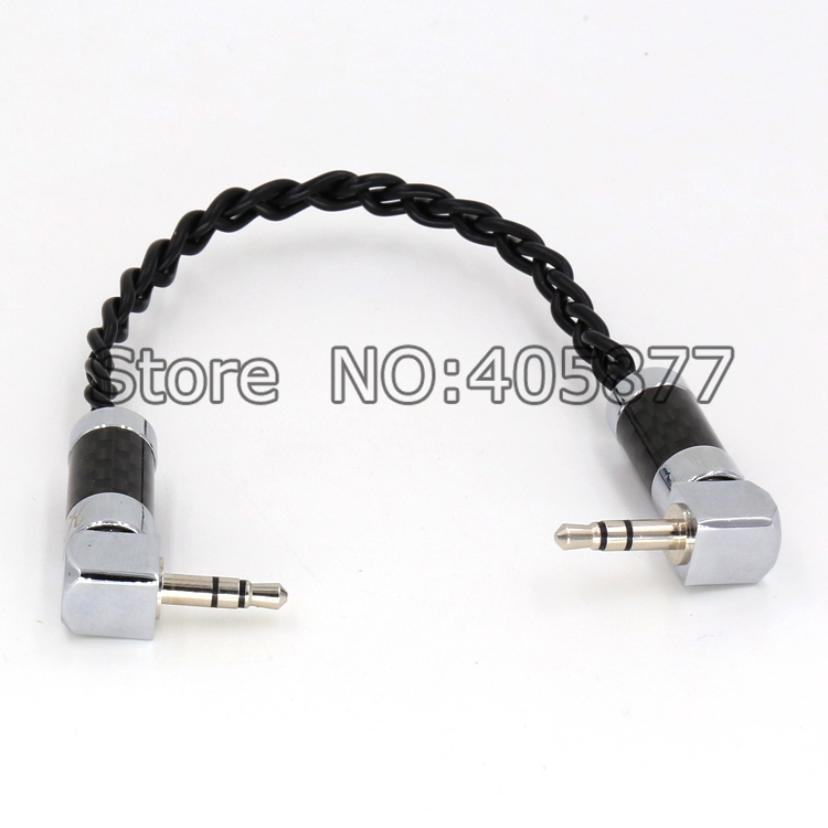 audio silver plated braid 3.5MM right angled Plug Cable hifi record AUX Cable