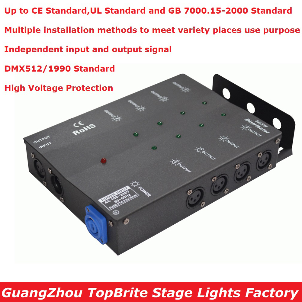 1Pcs/Lot Carton Package DMX Splitter DMX512 Light Stage Lights Signal Amplifier Splitter 8 Way DMX Distributor New Arrival dhl fedex free shipping best quality 8ch dmx splitter dmx512 light stage lights signal amplifier splitter 8 way dmx distributor