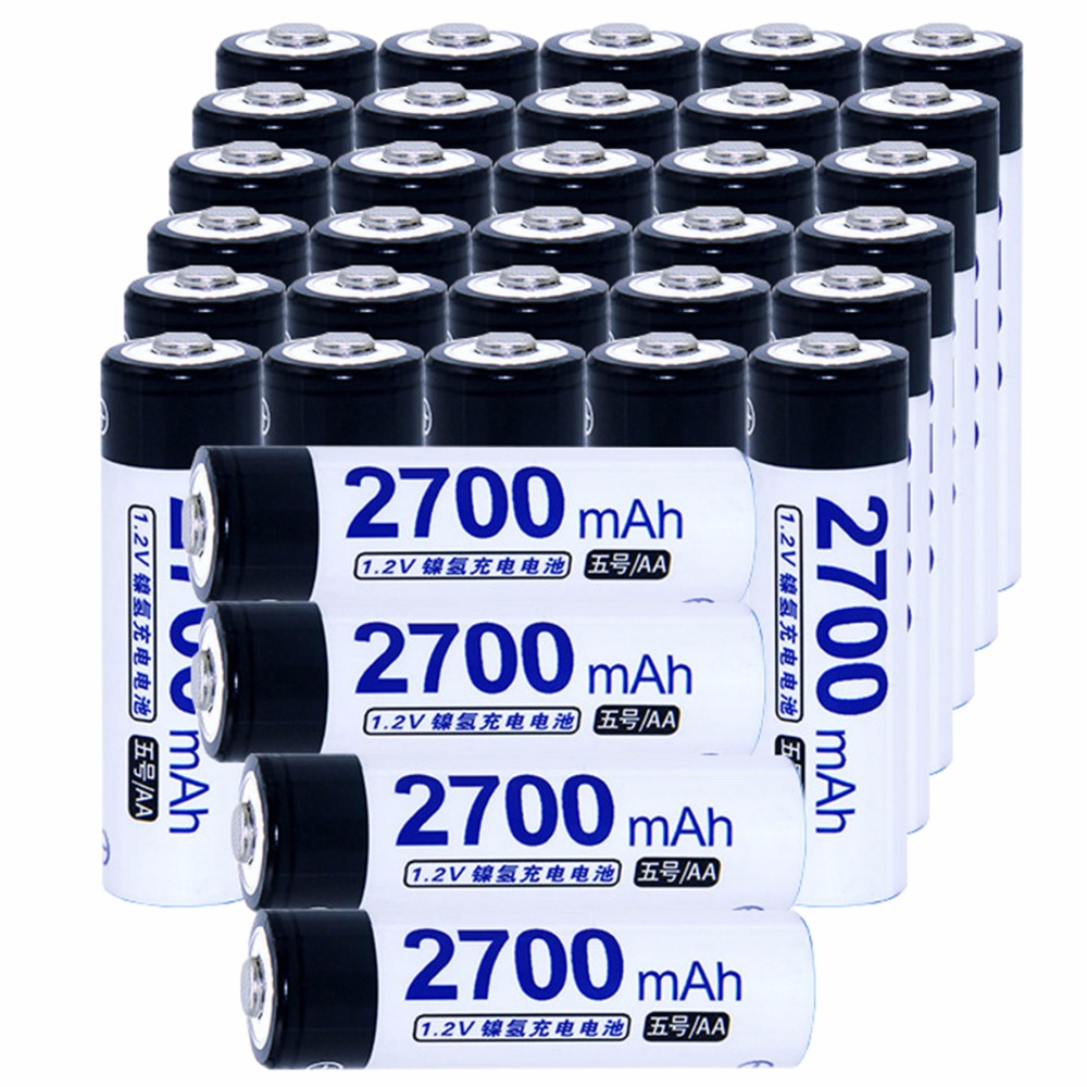 True capacity! 34 pcs AA 1.2V NIMH AA rechargeable batteries 2700mah for camera razor toy remote control flashlight 2A batterie