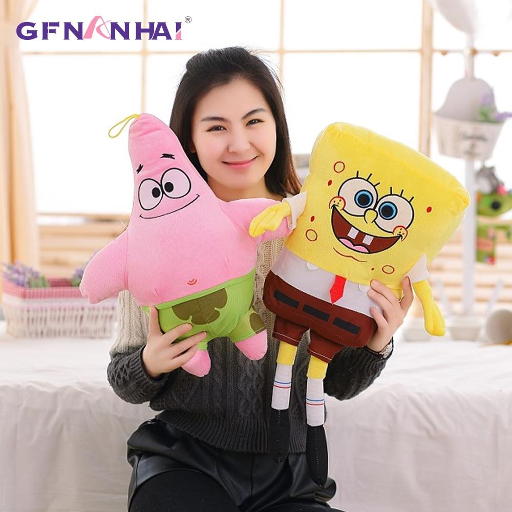 1pc 50cm Sponge Bob And Patrick Baby Toy Spongebob Plush Toy Soft Anime Cosplay Doll For Kids Toys Cartoon Figure Cushion
