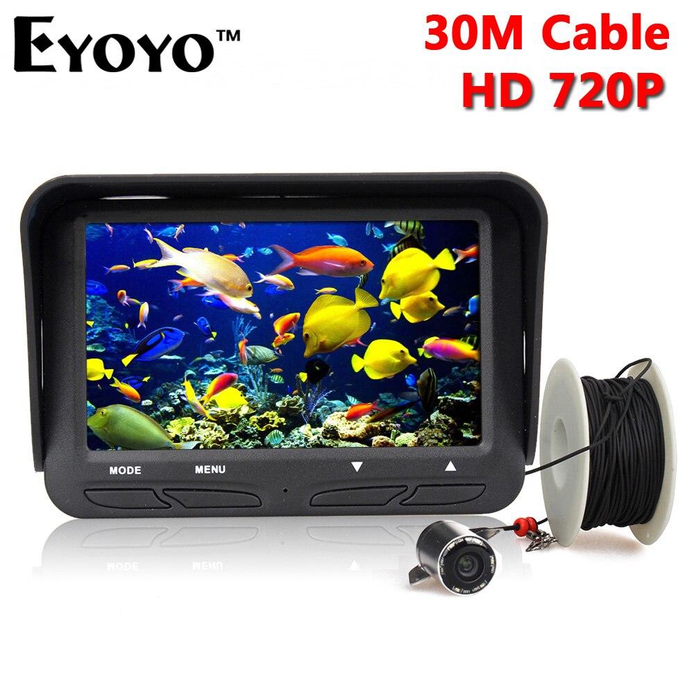 bilder für Eyoyo 30 mt 720 p professionelle eisfischen kamera nachtsicht-fisch-sucher 6 infrarot-led 4,3 zoll lcd monitor