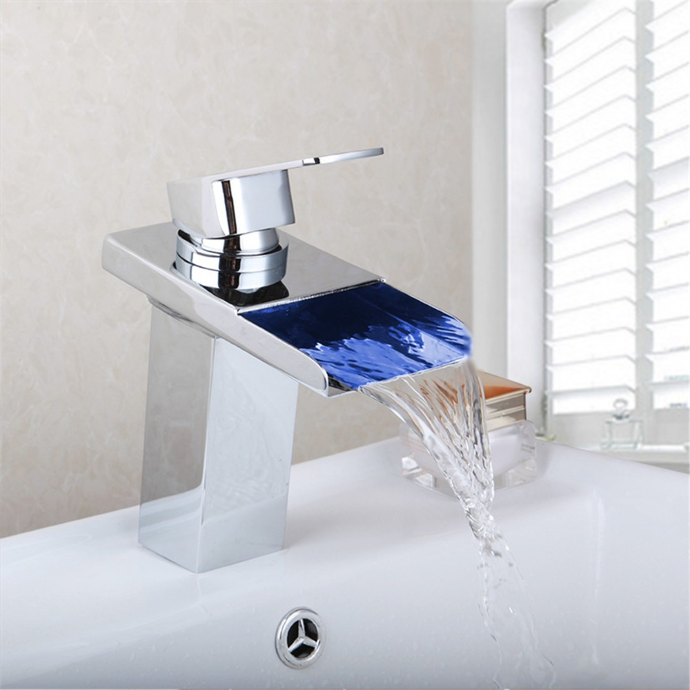 Wholesale And Retail Polished Chrome Bathroom LED Waterfall Spout Bathroom Basin Faucet Modern Square Sink Mixer Tap us free shipping wholesale and retail modern chrome finish bathrom waterfall sink basin faucet mixer tap dual holes wall mount