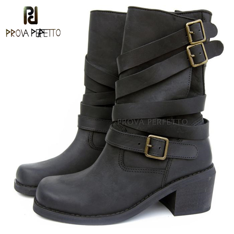 Prova Perfetto 2018 Top Quality Mid Heel Non-slip Cow Suede Leather Mid Boots Casual Buckle Strap Retro Square Toe Knight Boots рэдклифф безопасная гавань