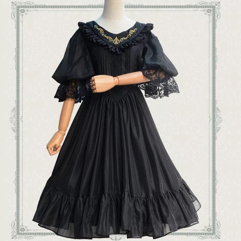 Femmes printemps été or brodé balançoire robe femme dames élégant 3/4 manches Vintage Lolita solide robe robe pour les filles