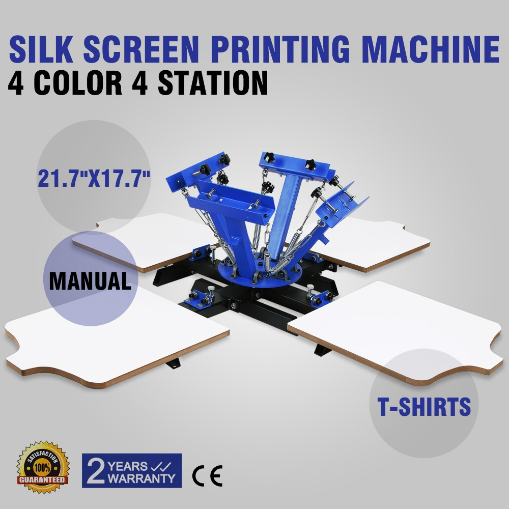 NEW 4 Color 4 Station Silk Screening Screenprint Press Screen Printing Machine