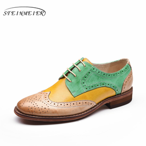Image 3 - Yinzo Flats Oxford Shoes Mulher Sapatos Tênis de Couro Genuíno Das Senhoras das Mulheres Brogues Do Vintage Sapatos Sapatos Para As Mulheres Calçados Casuais