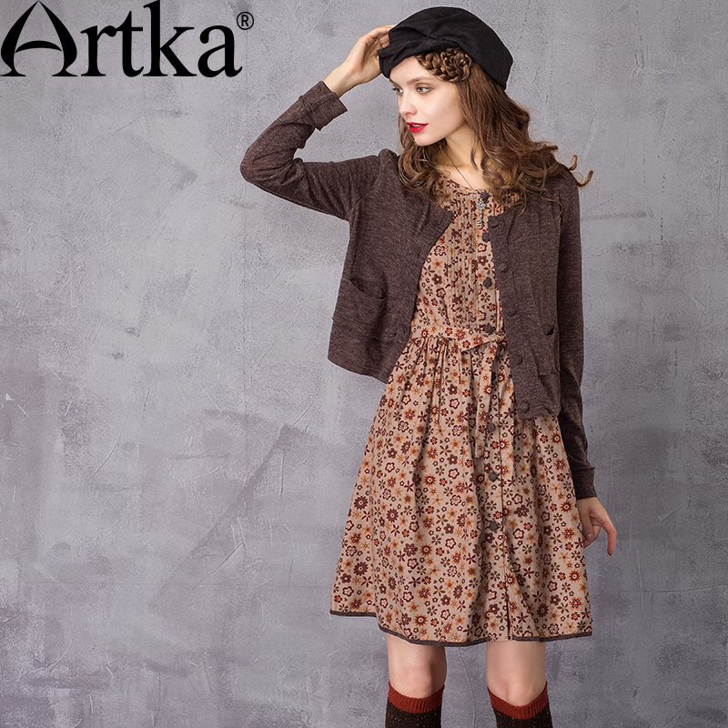 ARTKA Women's Autumn New Floral Printed Twin set Dress Fashion O Neck Long Sleeve Empire Waist A Line Dress LA10437Q