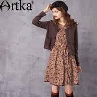 ARTKA Women's Autumn New Floral Printed Twin set Dress Fashion O Neck Long Sleeve Empire Waist A Line Dress LA10437Q