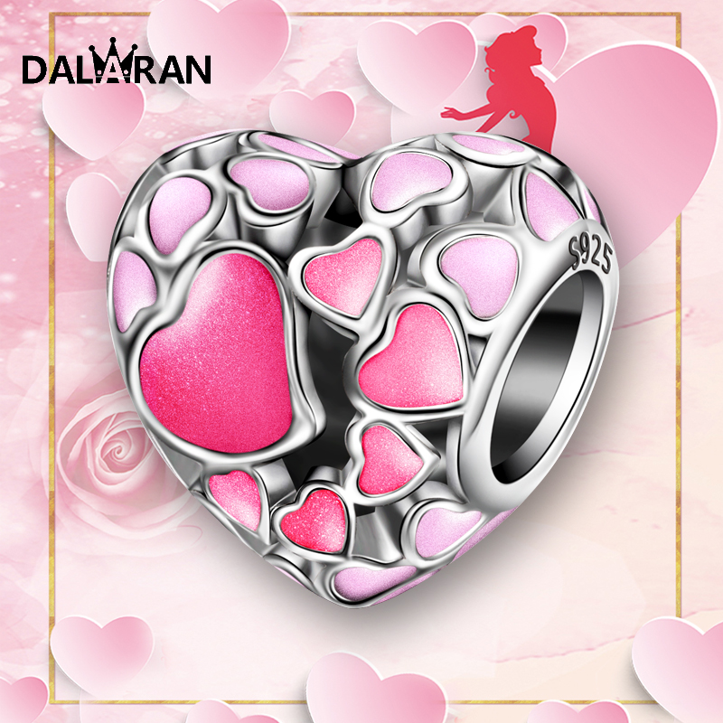 DALARAN 2019 Fashion silver 925 jewelry Sterling Silver Pink Memories beads Fit Charm Bracelet Necklace For Women DIY in Beads from Jewelry Accessories