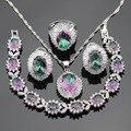 Color de plata Sistemas de La Joyería Nupcial Para Las Mujeres Multicolor Arco Iris de Cristal Collar Colgante Aretes Pulseras Anillos Caja de Regalo Libre