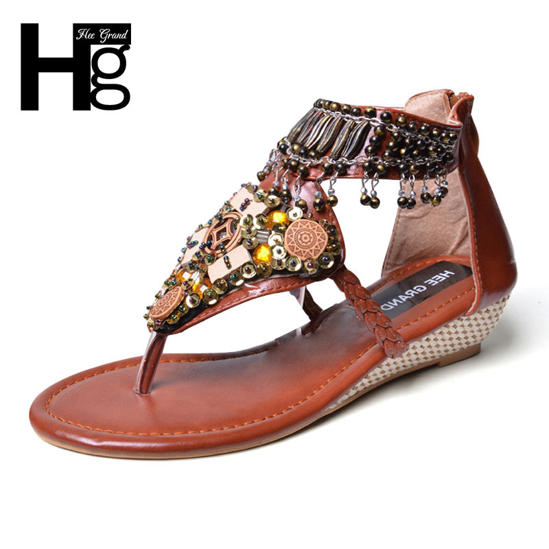 HEE GRAND Bohemia Gladiator Sandals 2017 Summer Wedges Flip Flops Crystal Platform Tassel Casual Shoes Woman Size 35-41 XWZ3462 phyanic 2017 gladiator sandals gold silver shoes woman summer platform wedges glitters creepers casual women shoes phy3323
