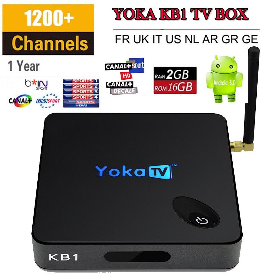 Europa Italia Canales de IPTV Árabe Francés YOKATV KB1 Android 6.0 TV caja S905X