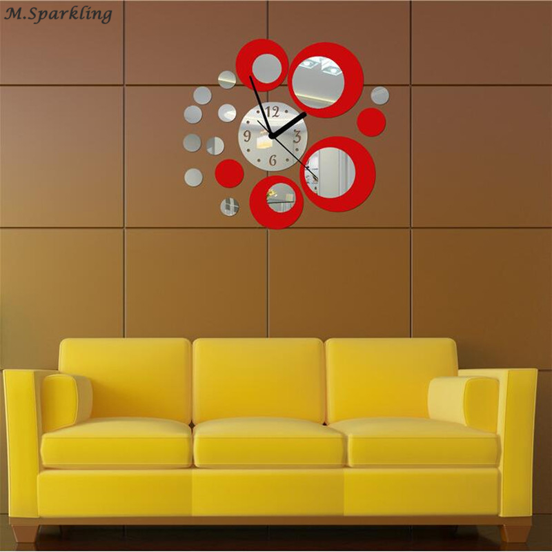 Stylish Home Decorative DIY Acrylic Mirror Style Circles Wall Clock ...