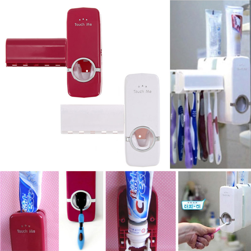 1pcs Automatic Toothpaste Dispenser and 5 Toothbrush Holder Set Wall Mount Stand Plastic White and Red 15.8 * 6 * 6cm image