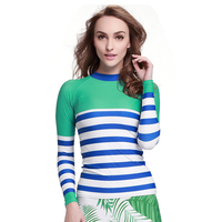 2019 New Women Long Sleeve Swimwear Rash Guard Tops UV 50+ Skin Striped Swimming T Shirt For Sun Protection Diving Tees