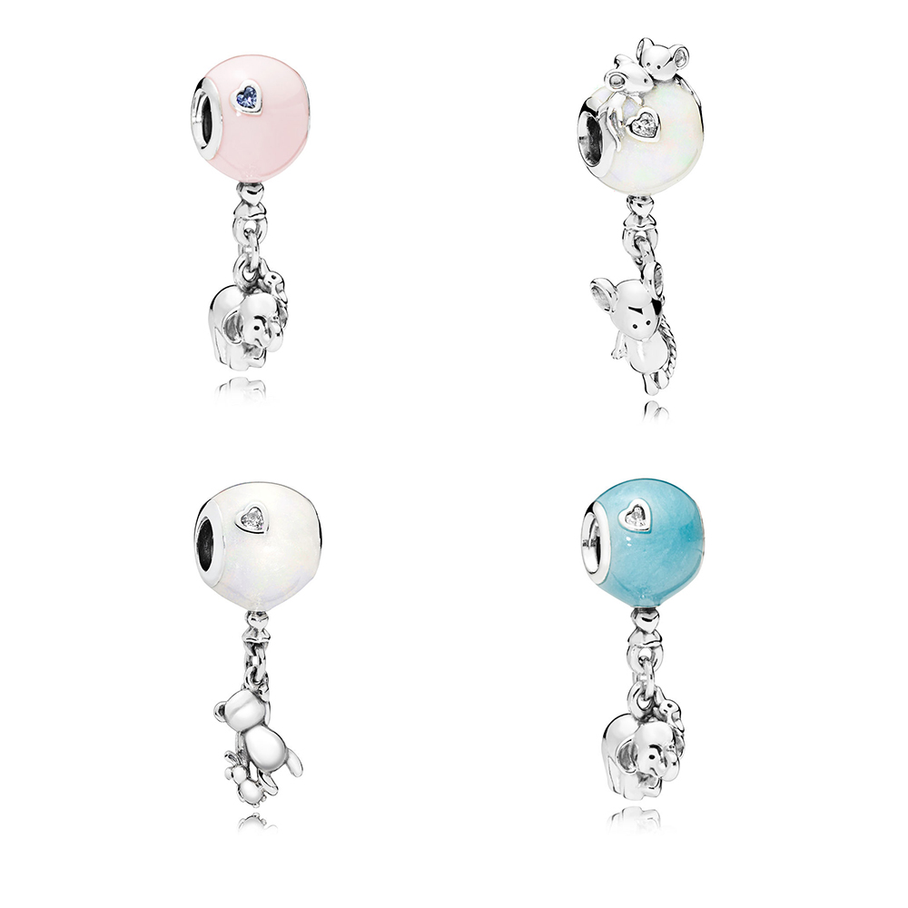 LJP 2018 Authentic 925 Sterling Silver Elephant Mouse little Bear & Balloon CZ Charm fit Original Pandora Bracelet Beads Jewelry
