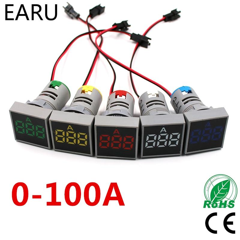 22MM AC20-500V 0-100A Digital LED Voltmeter Voltage Meter Indicator Pilot Light Ammeter Ampermeter Current Tester Gauge Auto Car