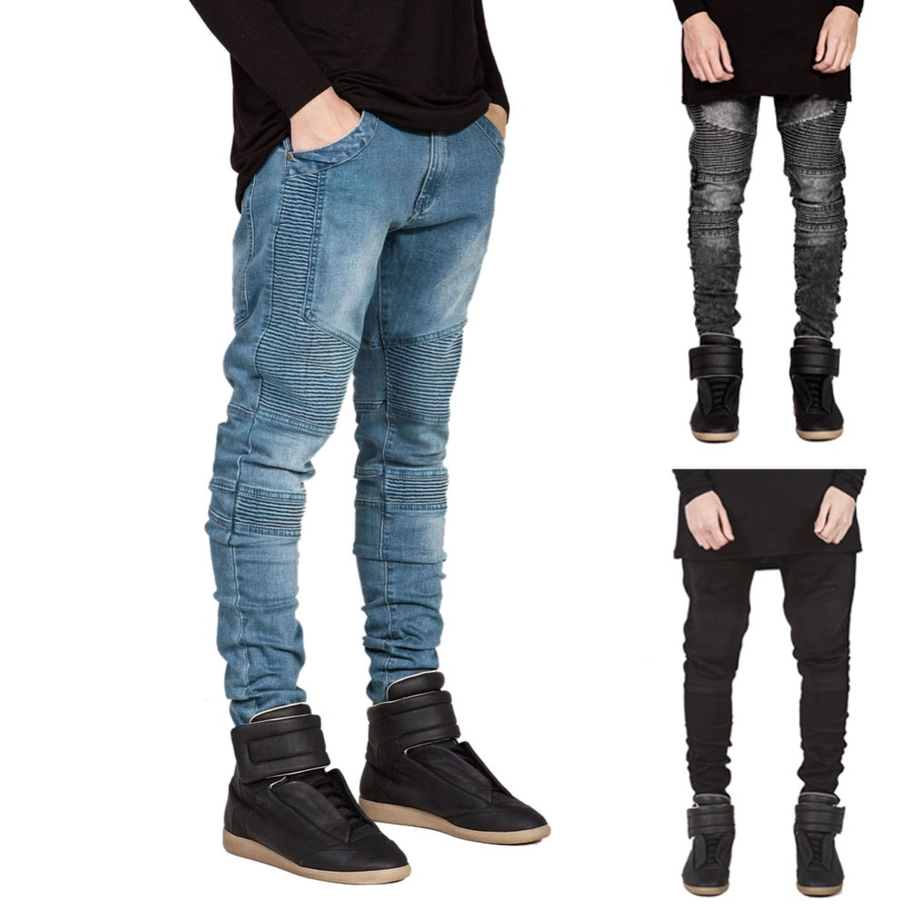 Famous Brand Men Straight Slim Fit Biker Jeans Pant Denim Trousers Jeans Men Biker Denim skinny