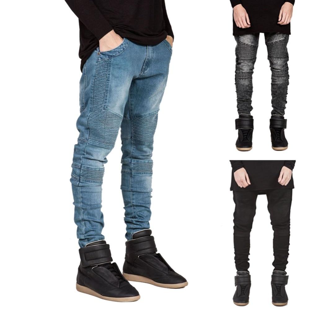Famous Brand Men Straight Slim Fit Biker Jeans Pant Denim Trousers Jeans Men Biker Denim skinny
