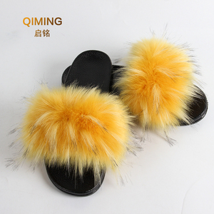 Image 4 - Womens Vegan Faux Fur Slippers Fuzzy Slides Fluffy Sandals Open Toe Indoor Outdoor Shoes Woman Slipper Furry