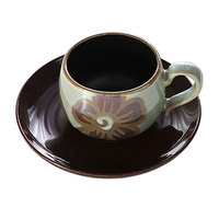 Top Grade Dignified Handmade Stoneware Colour Ceramic Glaze Flower Cappuccino Coffee Dish Suit Modern Cafe Tea Cups And Saucers