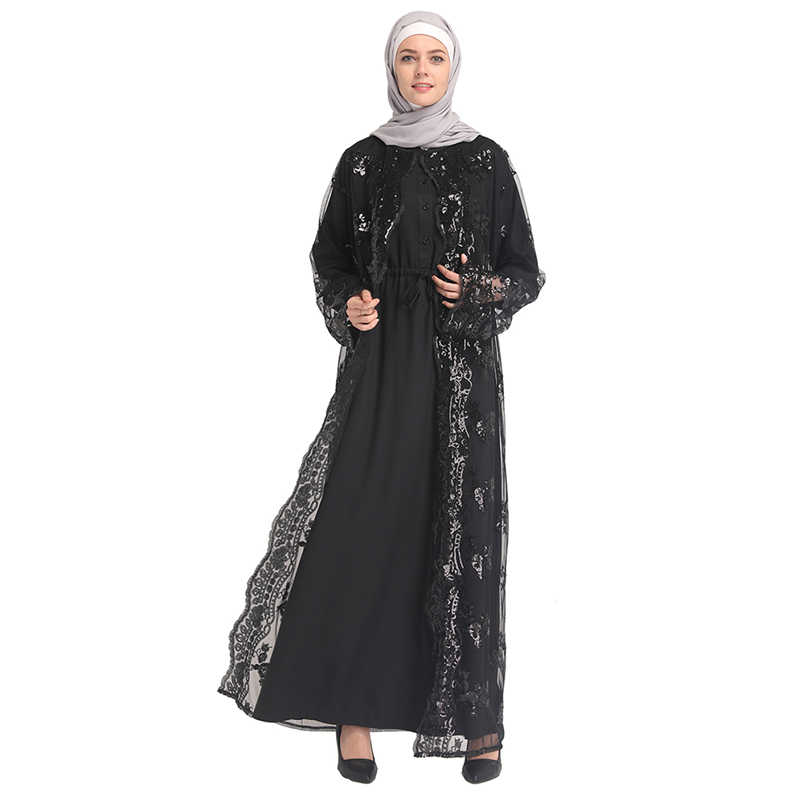 2019 летние сетчатые блесток кафтан Абаи Турции Дубае мусульманский хиджаб платье Абая для женщин Катар Рамадан кафтан исламский халат Костюмы