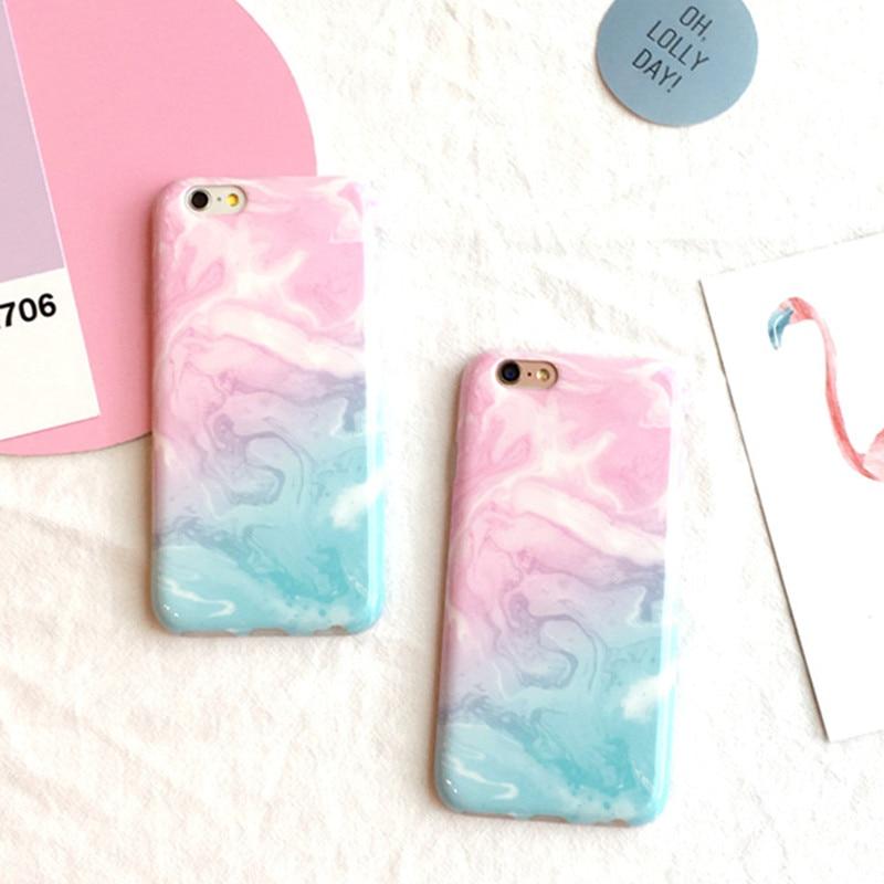 Rosa Azul Degradado Mármol Cajas Del Teléfono para el iphone 6 s 6 Plus 7 7 plus