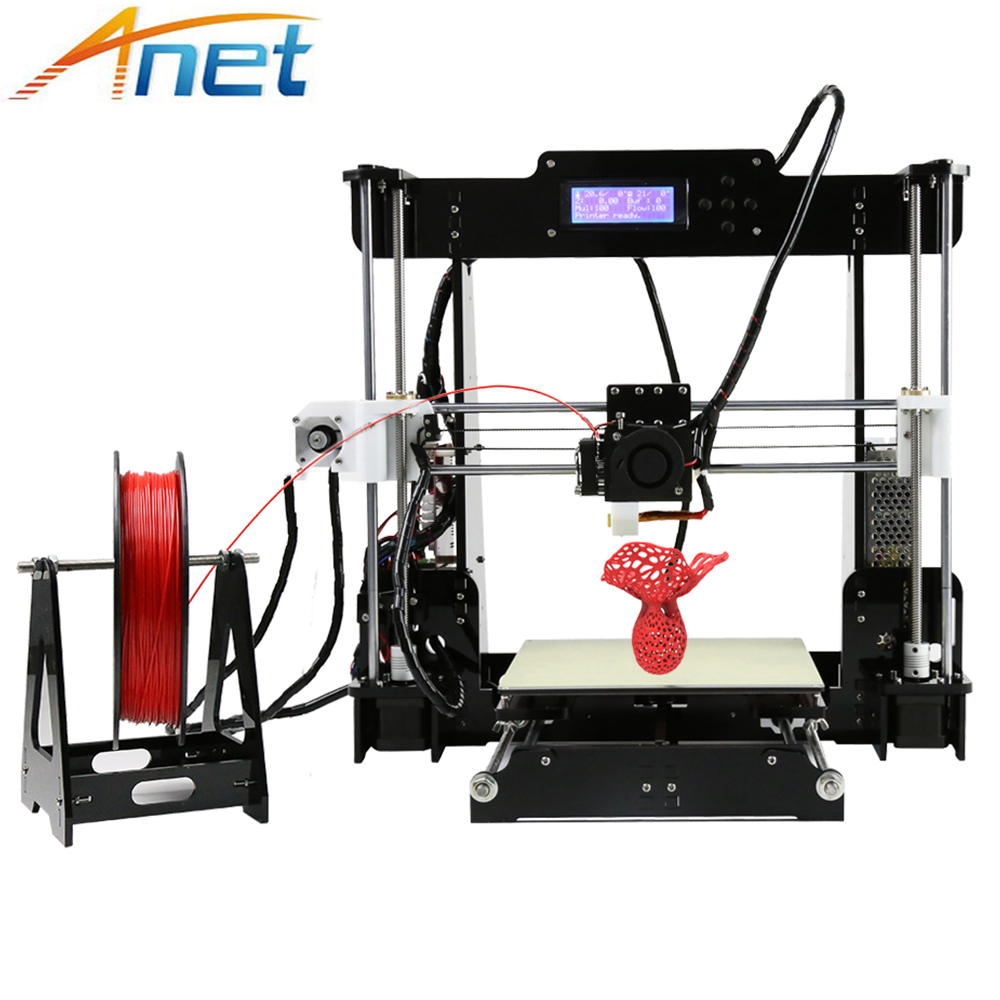 Easy Assemble Anet A8 Impresora 3D Printer Aluminum Heated Bed Reprap i3 3D Printer Kit DIY with Free Filaments SD Card anet auto level a2 aluminium 3d printer high precision reprap prusa i3 diy 3d printer kit lcd2004 screen with filaments sd card