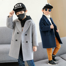Children's clothing boy coat 2018 new winter fashion children's long double-breasted blue thick boy woolen coat