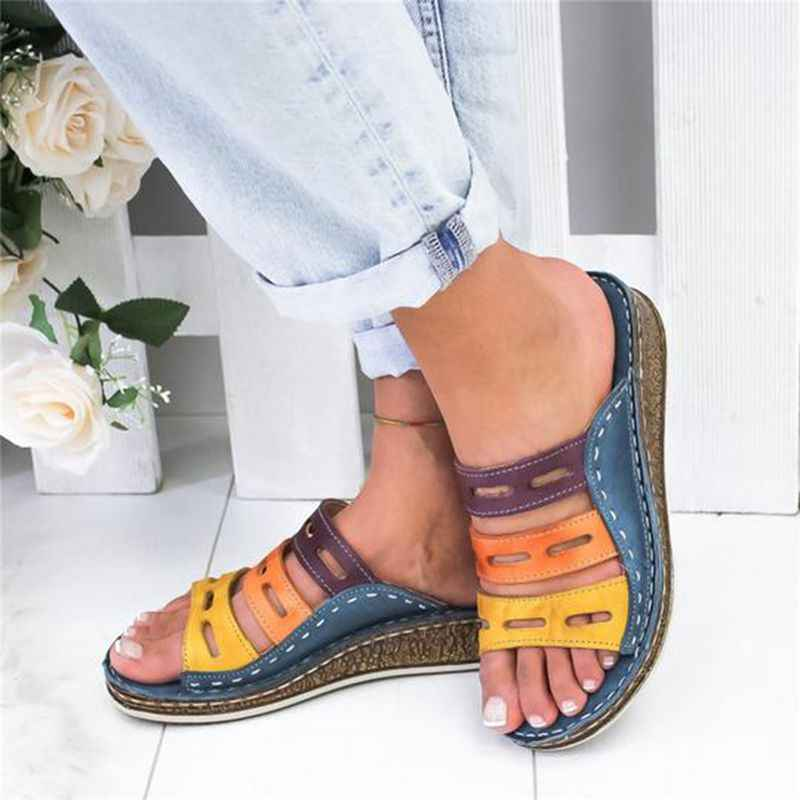 Puimentiua 2019 New Summer Women Sandals Stitching Sandals Ladies Open Toe Casual Shoes Platform Wedge Slides Beach Woman Shoe