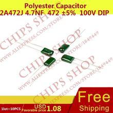 1 лот = 10 шт. полиэстер конденсатор 2A472J 4.7nF 472 5% 5 мм (1 мм) 100 В DIP-2 DL-2A472J 4700