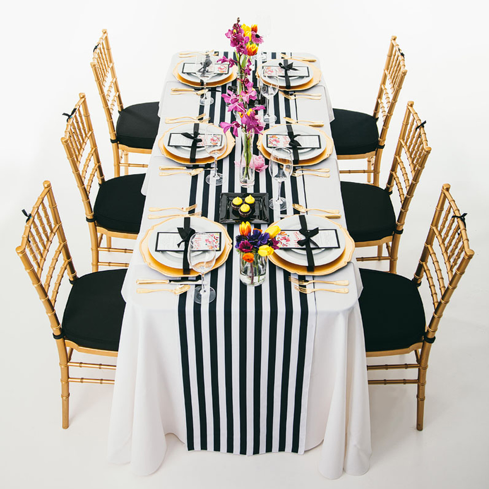 10pcs 14 X 108 Black And White Striped Table Runner For Wedding Centerpiece Home Decor In Event Party From Garden On Aliexpress