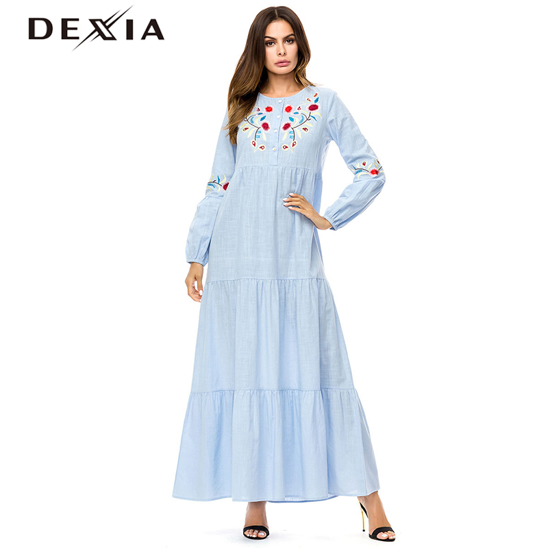 3f4eb6596b88a DEXIA Floral Robe Femme ete 2018 Women Floral Embroidery Autumn Long Length  Bohemian Style High Quality Femme Vadim Dress 7308-in Dresses from Women's  ...