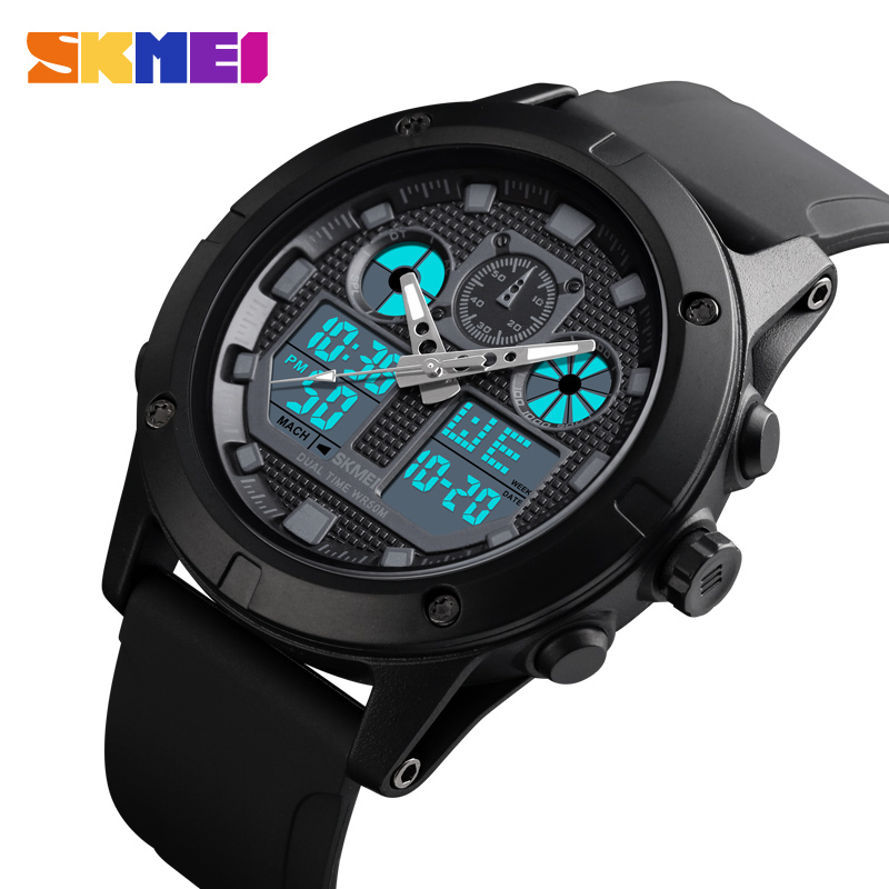 SKMEI Outdoor Sport Watch Men Digial Watches Military 5Bar Waterproof Luminous Dual Display Wristwatch Reloj Hombre 2019