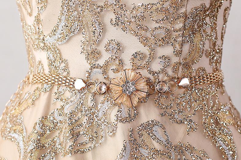 BANVASAC 2018 Linia O Neck Sequined Długie suknie wieczorowe - Suknie specjalne okazje - Zdjęcie 5