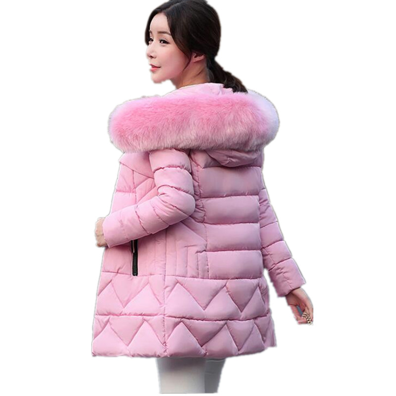 2018 Autumn Winter Jacket Women   Parkas   Fashion Female coat With a Hood Large Faux Fur Collar Winter Coat women G140