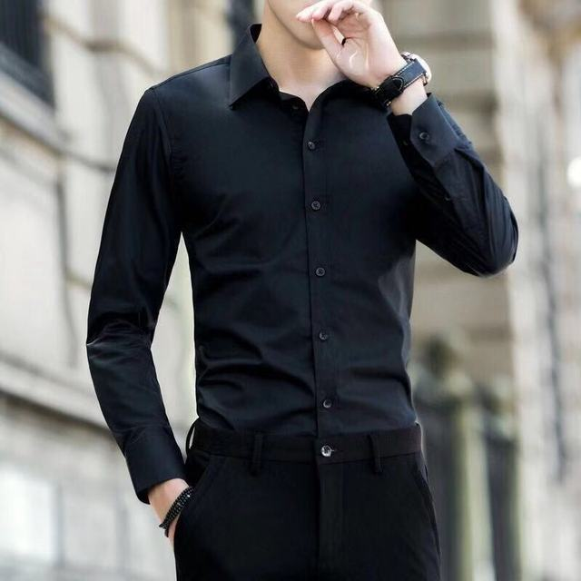 Men's 4XL 5XL Large Size Business Dress Long Sleeved Shirt White Blue Black Red Smart Male Social Casual Shirt Plus HOWDFEO