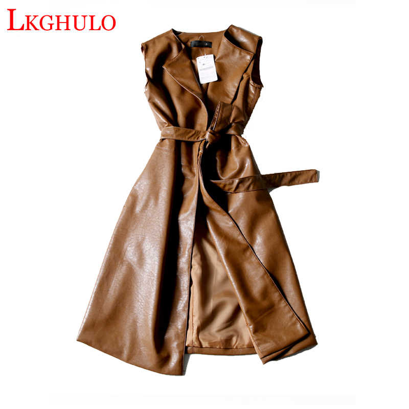 Coffee Black Green Long Leather Vest PU Women Soft Vest Ladies Leather Turn-down Collar Vest Colete female With Belt W449